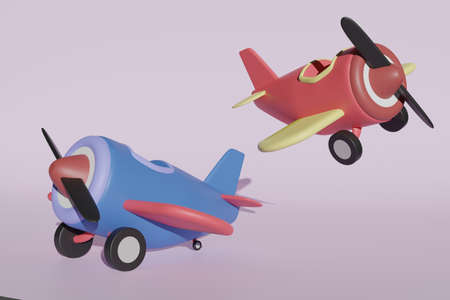 3d rendering airplane in blue tone and red tone