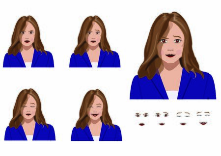 Office Worker Vector Emotions, happy, pleased, curious and neutral