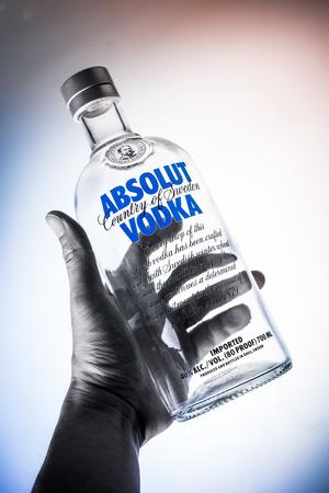 Guangzhou, China - May 8 2015: Bottle of Swedish vodka Absolut.