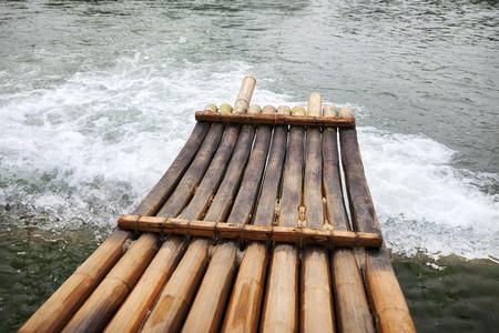 bamboo boat on the river Standard-Bild