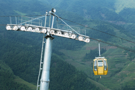 Cable car on terraced mountain