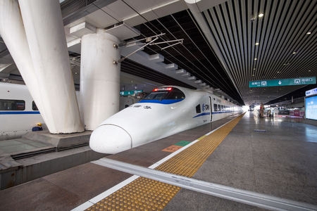 Guangzhou,china - feb,17,2017:High speed railway in guangzhou south railway station.The speed is more than 300KM.