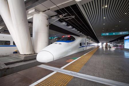 Guangzhou,china - feb,17,2017:High speed railway in guangzhou south railway station.The speed is more than 300KM.