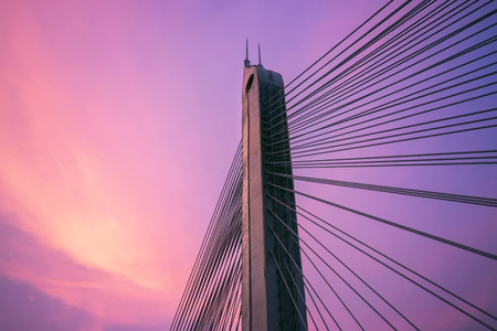 metal structure: Sunset and bridge sscenery Stock Photo