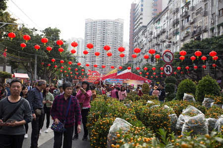 Guangzhou,China - Feb,15,2018:Peoples shopping in flower market before chinese new year. Reklamní fotografie - 98811976