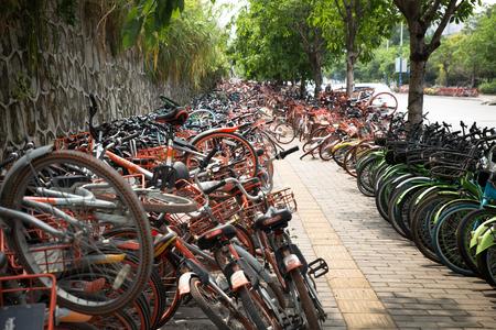 guangzhou,china - Apr,10,2018:A lot of broken sharing bike crowded on the street in guangzhou china.