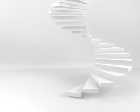 Spiralne schody z białym tłem