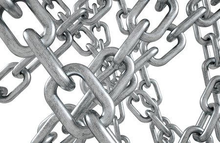 Iron chains on white background
