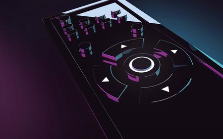 3d rendering black romote control