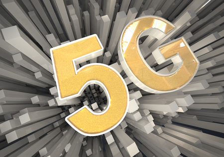 3D rendering illustration 5G icon