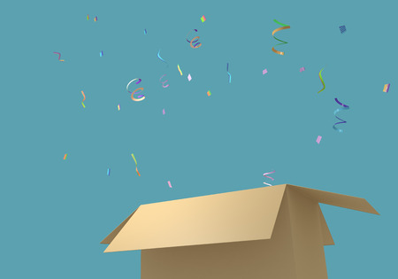 3D rendering illustration carton with confetti Stok Fotoğraf - 120928452
