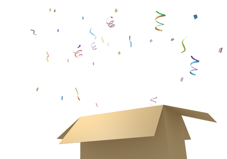 3D rendering illustration carton with confetti Stok Fotoğraf - 120928456