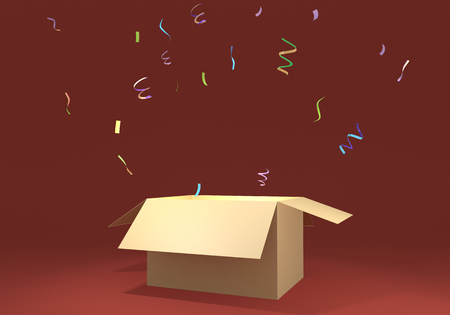 3D rendering illustration carton with confetti