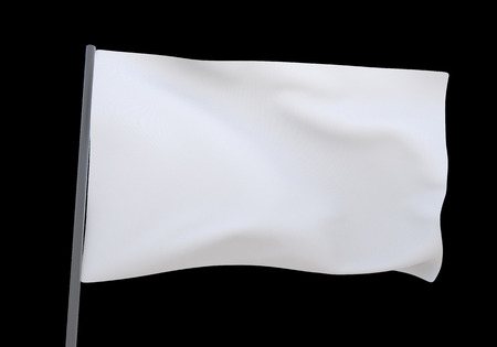 3D illustration white flag background
