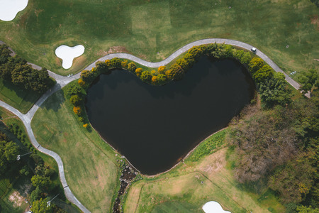 heart shape lake golf course Stok Fotoğraf