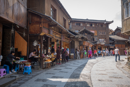 guizhou,china - may,25,2019:miao village is a famous old place in guizhou china,a lot of peoples come here everyday.