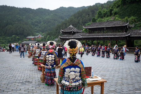 guizhou,china - may,25,2019: miao village is a famous old place in guizhou china,a lot of peoples come here everyday. Editöryel