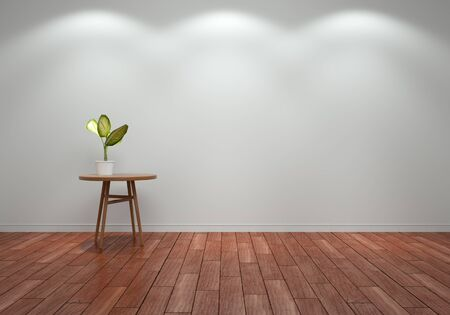 3D render - Plant on table in gray room with wooden floor Stok Fotoğraf