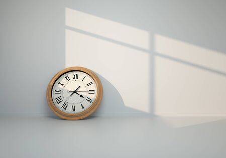 3D render - Clock on floor against gray wall