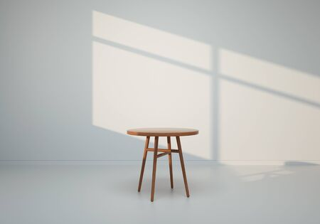 3D render - Table in white room