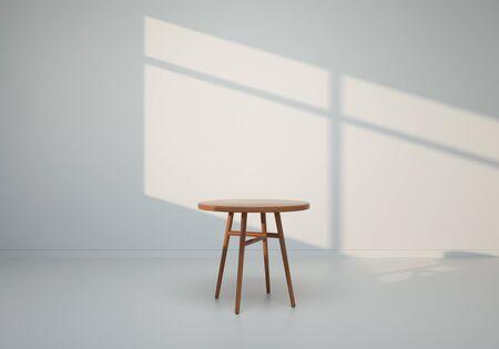 3D render - Table in white room Stok Fotoğraf - 128686743