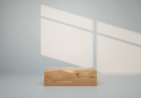 3D render - Wooden block in gray room