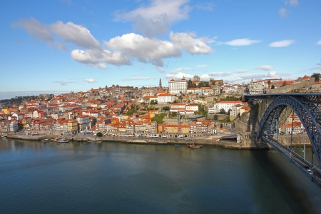 luis: Ribeira with the Luis I Iron Bridge,Porto,Portugal.