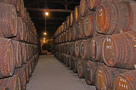 casks: wooden wine barrels hold Port,Porto, Portugal