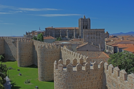 Avila town and cathedral seen from the medieval city walls  Spanish landmarks in Castilia region