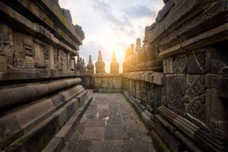 An alley way ay Prambanan temple at Sunset  Stock Photo
