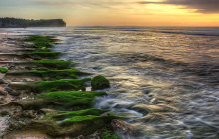 Moss covered rocks at a beach in Bali
