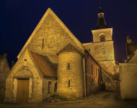 Church at night in Burgundy, France Stock Photo