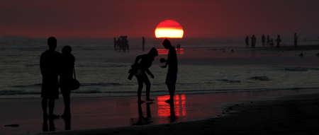 A deep red sunset in Yogyakarta, Java