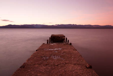 Broken pier in the lake, Argentina