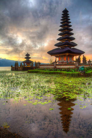 Temple with lily pads on Lake Bratan, Bali