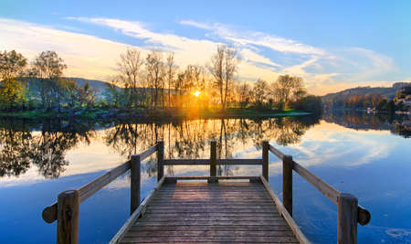 Jetty over the Dordogne River at Sunset Stock Photo - 21423043