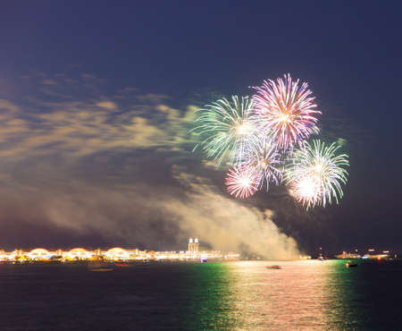 Fireworks over Lake Michigan in Chicago Stock Photo