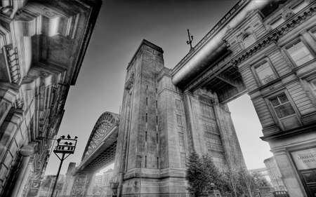 Looking up at the Tyne Bridge in Newcastle upon Tyne