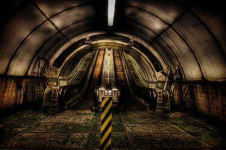 Two wooden escalators in the pedestrian Tyne tunnel Stock Photo - 21640106