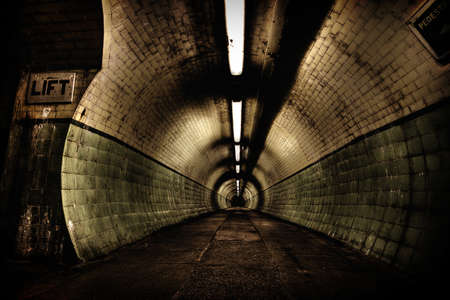 Inside the dark, seemingly, never-ending tunnel in the pedestrian Tyne tunnel