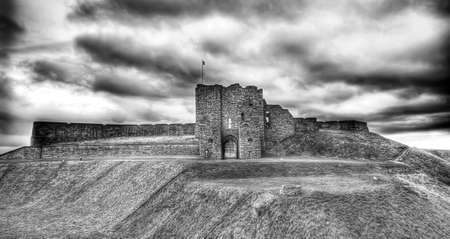 Tynemouth Priory in black and white Stock Photo