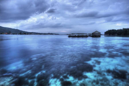 Hotel in the sea in Karimunjawa, Indonesia Stock Photo