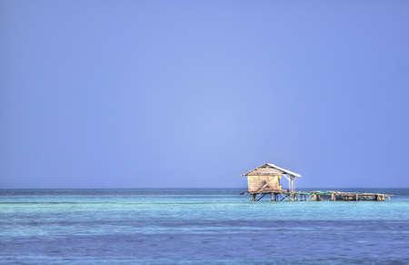 Hut in the green ocean in Karimunjawa, Indonesia