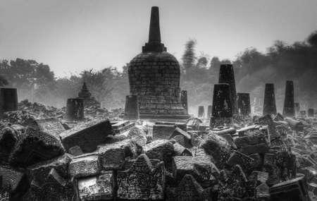 Ruins at Borobudur Temple in Yogyakarta, Indonesia Stock Photo
