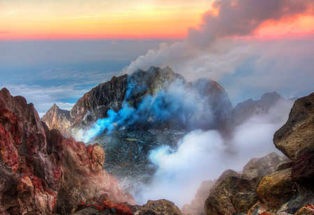 The lava and gasses inside Mount Merapi volcano
