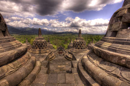 Looking down through the stupas at Borobudur Temple, Indonesia Stock Photo