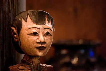 Handmade traditional Javanese mask in Java, Indonesia Stock Photo