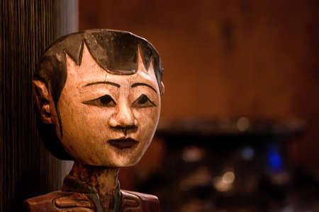 javanese: Handmade traditional Javanese mask in Java, Indonesia Stock Photo