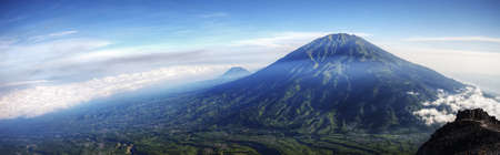 Panorama of Mount Merbabu with clouds