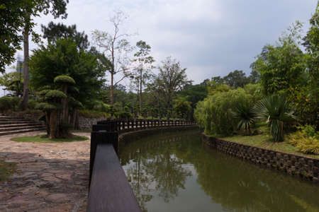 River with landscaped gardens in Kuala Lumpur Park